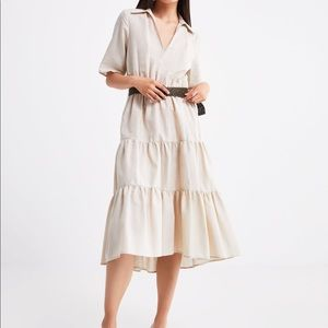 Zara Natural Belted Midi Dress Size Large *